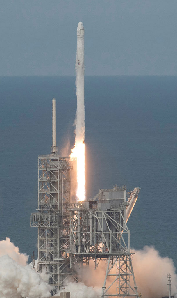 A SpaceX Falcon 9 rocket launched at Nasa's Kennedy Space Centre in Florida in June. US strategists fear a surprise attack on American assets in space.