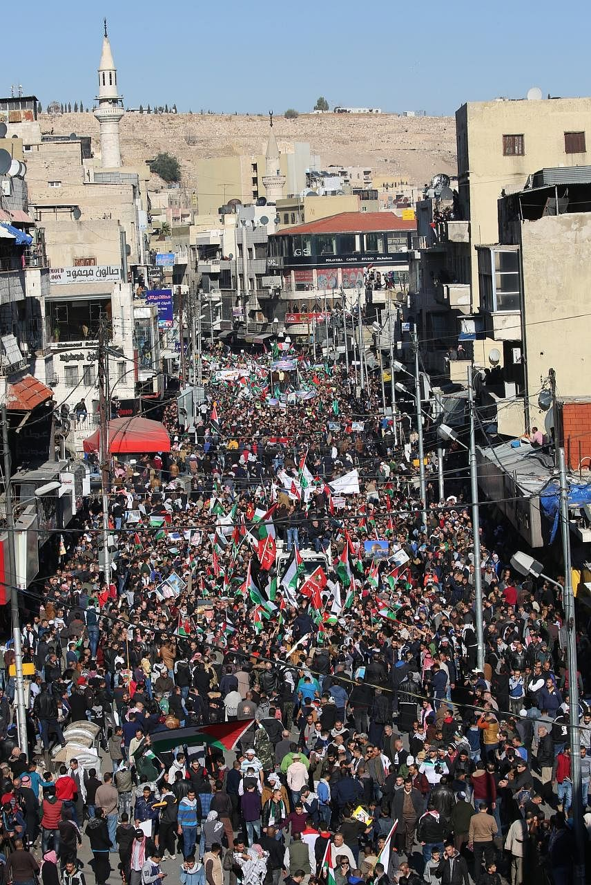 A demonstration last Friday in Amman, Jordan, against US President Donald Trump's decision to recognise Jerusalem as the Israeli capital.