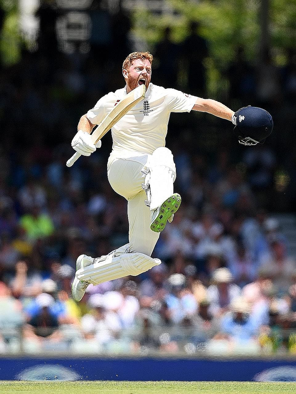Bairstow celebrating his century, before England lost their last six wickets for just 35 runs, going from 368 fo