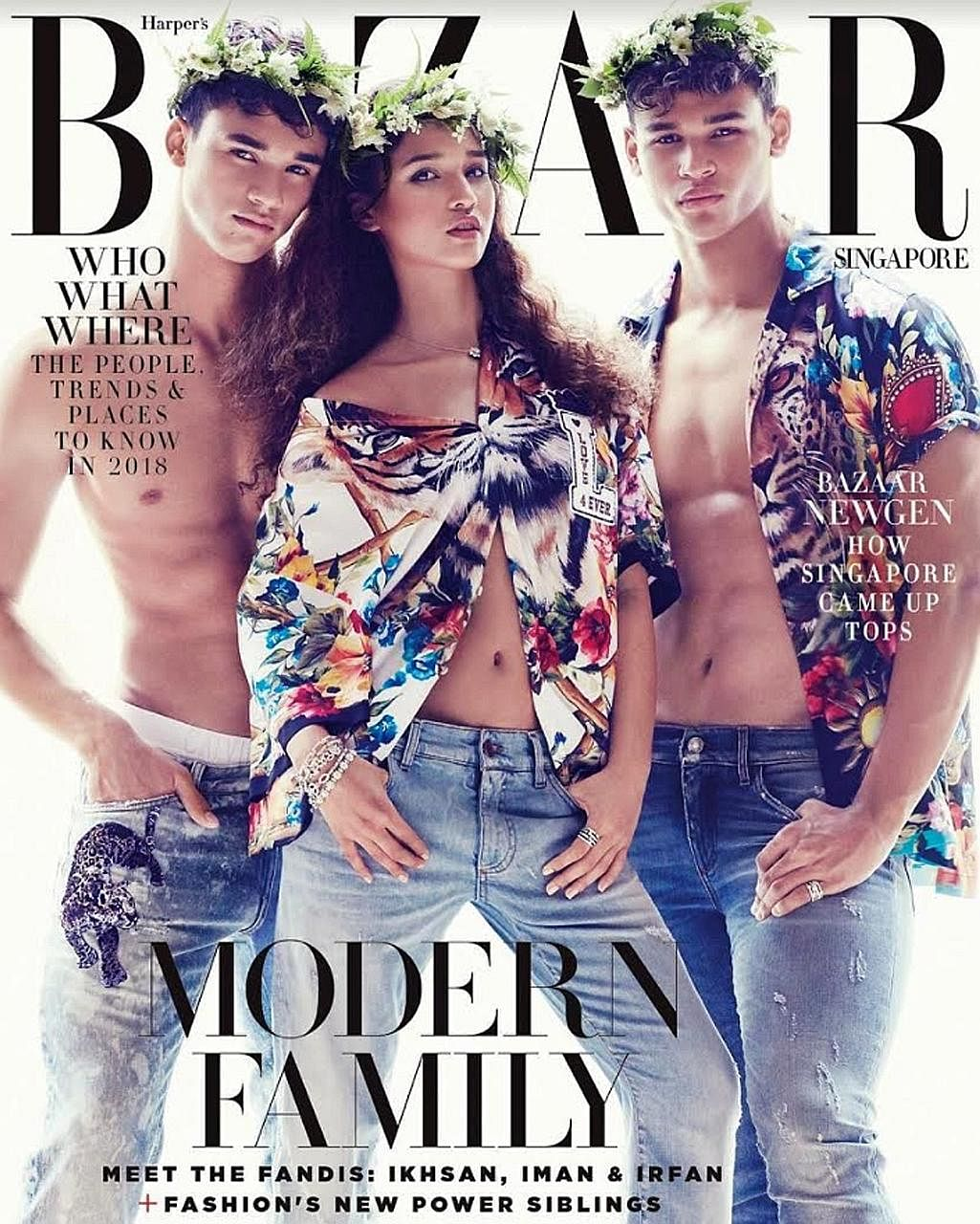 Ikhsan, Iman and Irfan Fandi on the cover of the January 2018 edition of Harper's Bazaar. Fandi's sons are not just making their mark on the pitch but also in fashion.