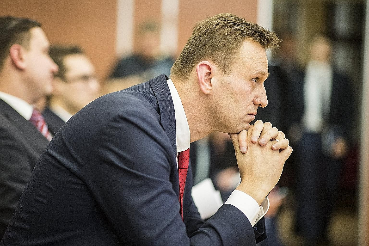 Opposition leader Alexei Navalny at the Russian Central Election Commission in Moscow on Monday, when he was found ineligible to be a presidential candidate next year because of a suspended prison sentence.