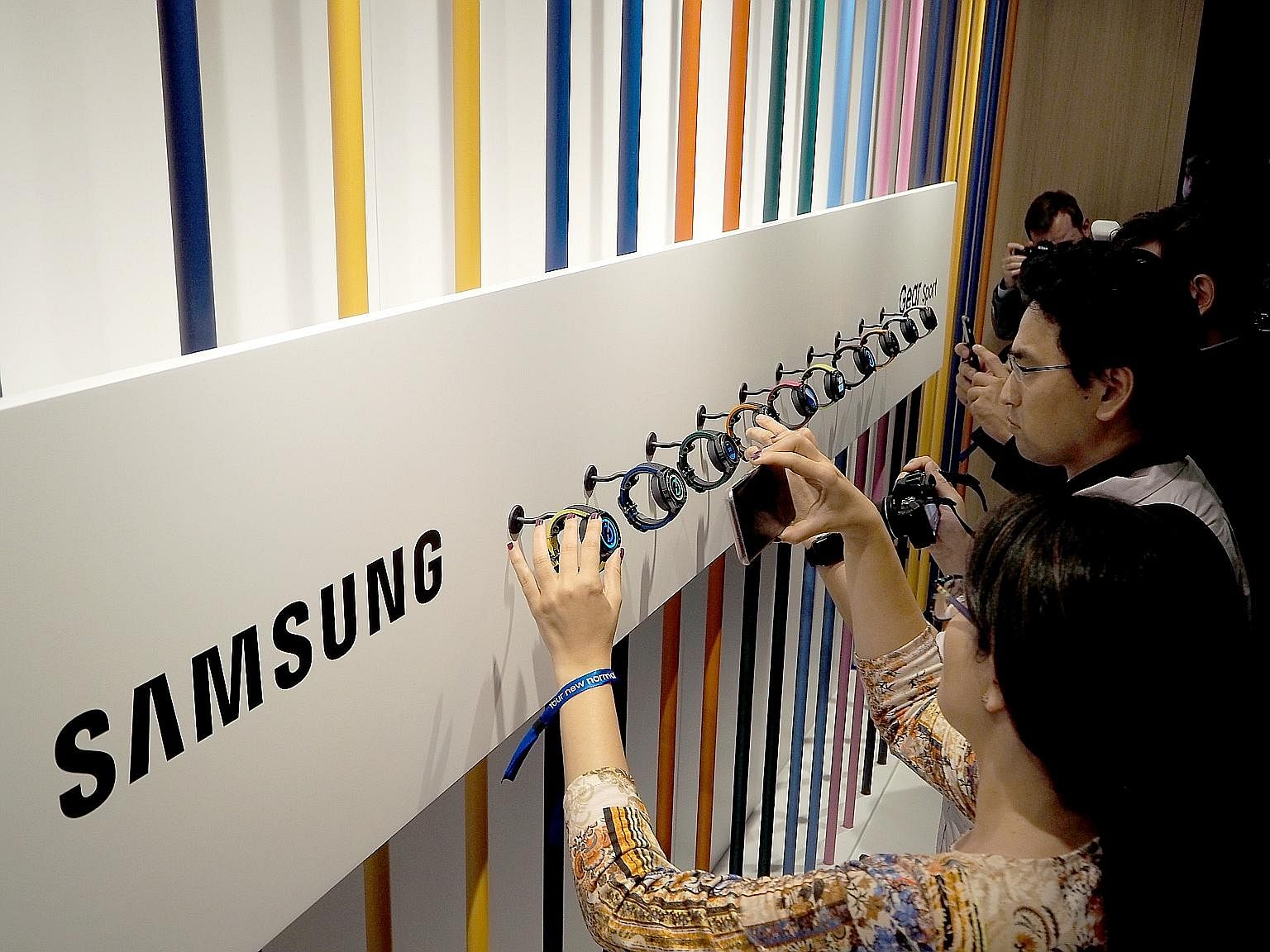Samsung showcasing its Gear Sport smartwatch at an August press conference in Berlin.