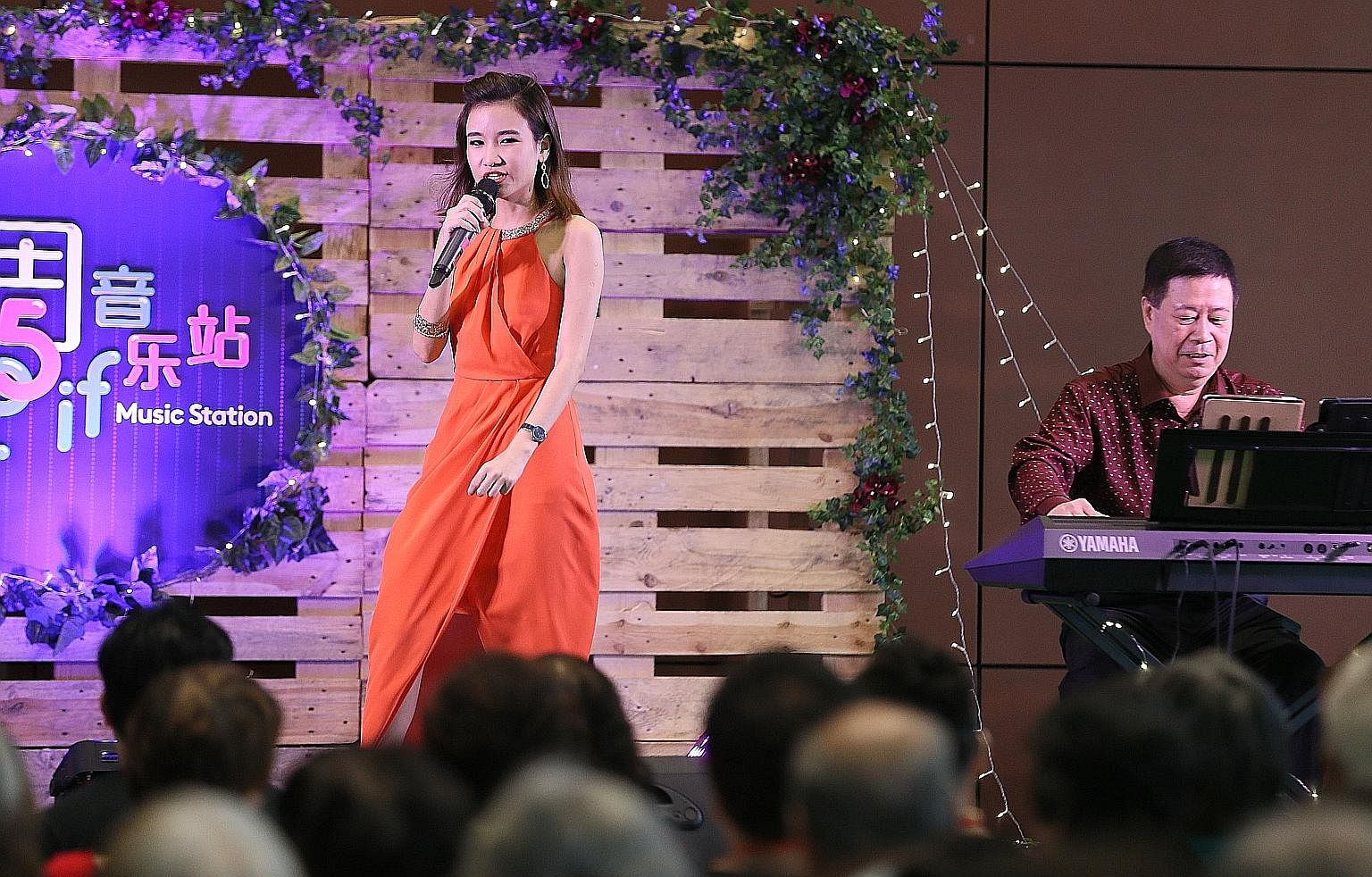Getai singer Lee Pei Fen performing at the first showcase of the Singapore Chinese Cultural Centre's new TGIF Music Station initiative.