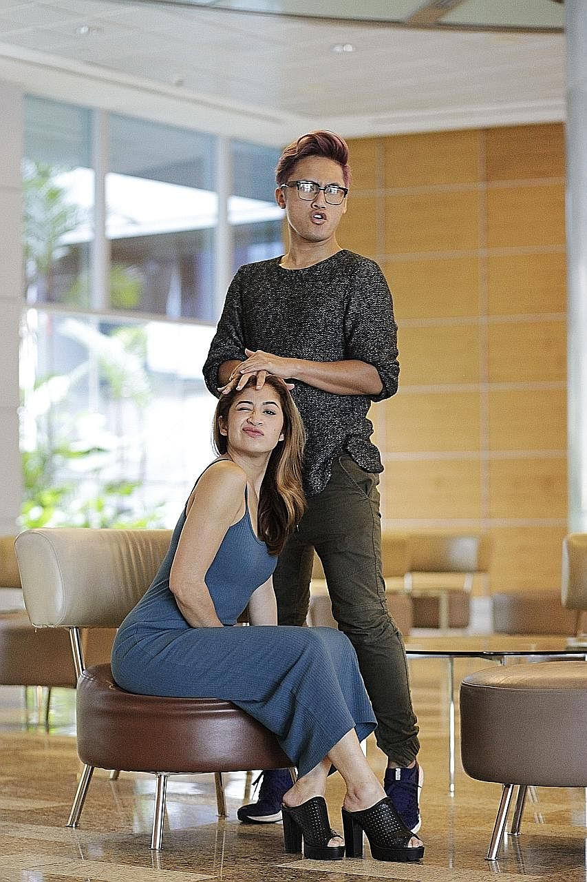 Munah Bagharib and Hirzi Zulkiflie (standing) of YouTube channel @MunahHirzi Official, which has more than 145,000 subscribers.
