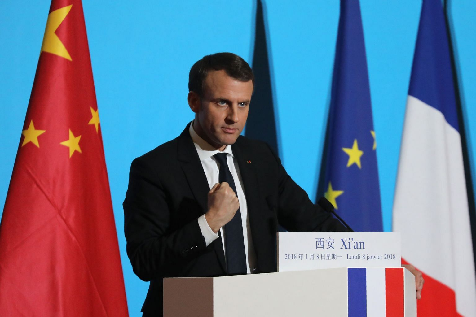 Macron Wins Chinese Fans With Mandarin Lesson East Asia News Top Stories The Straits Times