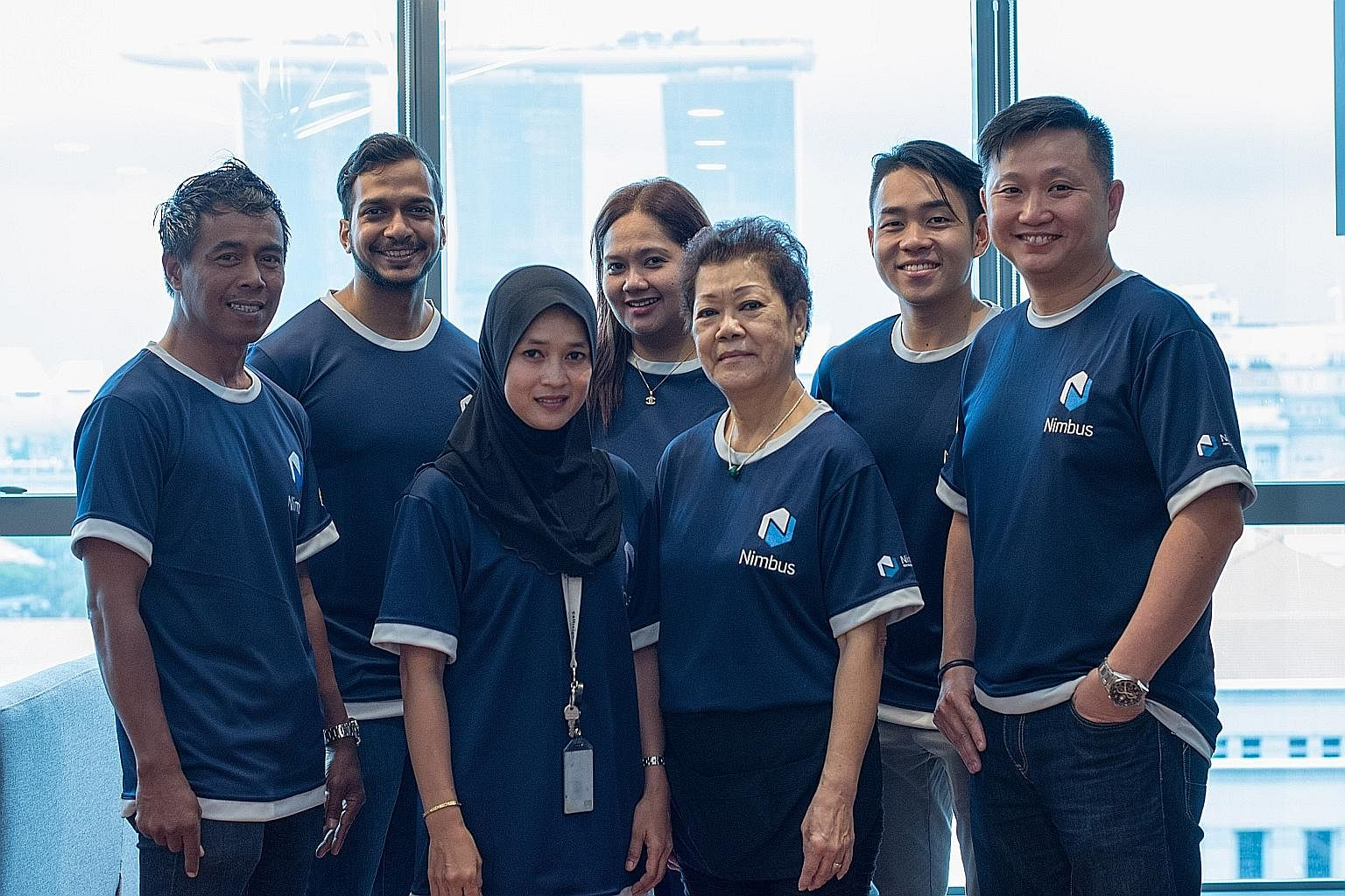 The Nimbus team includes (from left) operations manager Asrin Che Hosni, 51, product lead Fareed Mustakin, 25, cleaning staff member Lisa Latiff, 29, operations executive Sitimurriani Khamis, 41, cleaning staff member Wong Yuet Peng, 65, chief execut
