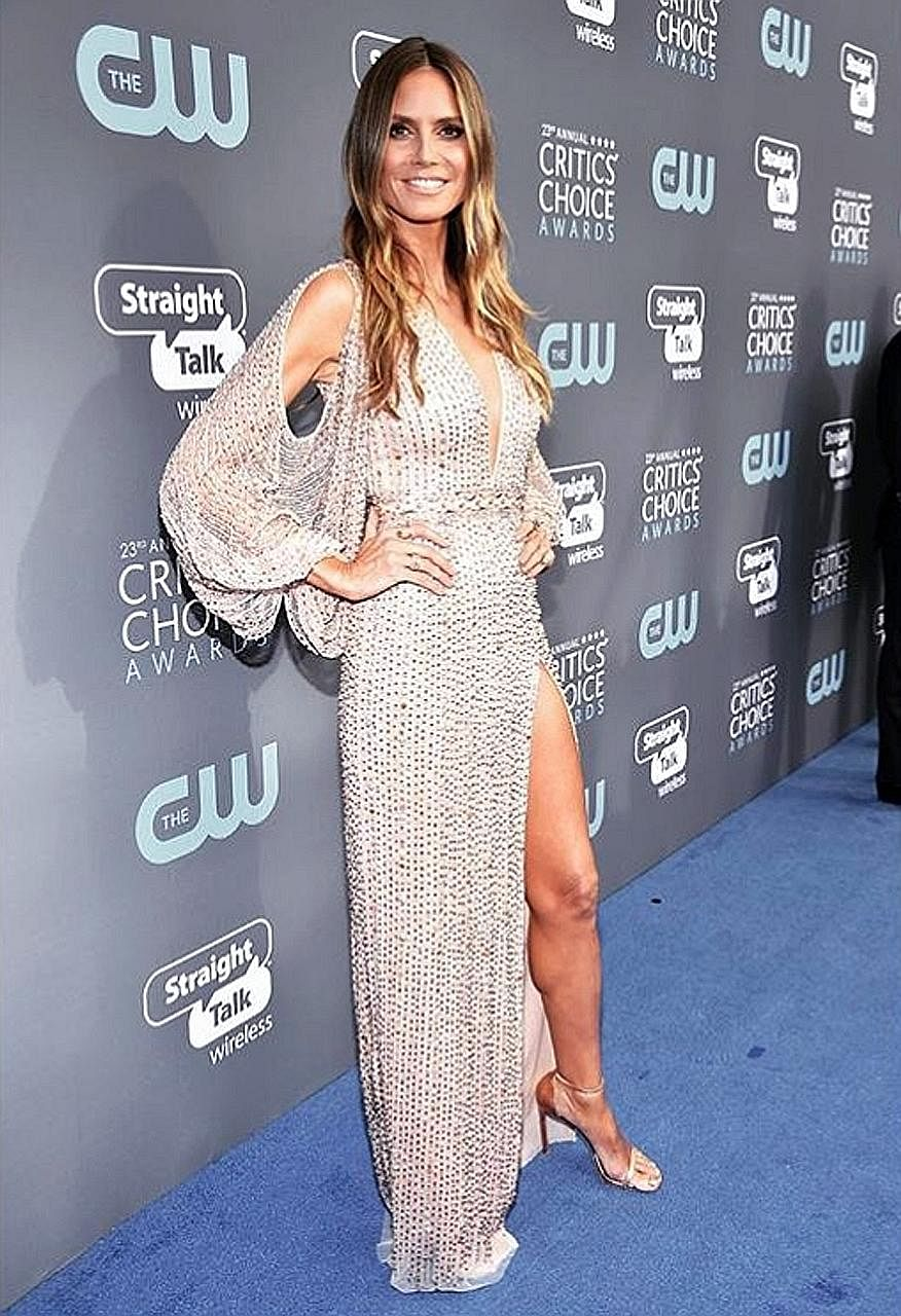 The dark shadow was lifted at the Critics' Choice Awards, in the wake of celebrities donning black to support victims of sexual harassment at the Golden Globes on Sunday. At Thursday's event in Santa Monica, Heidi Klum, host of America's Got Talent,