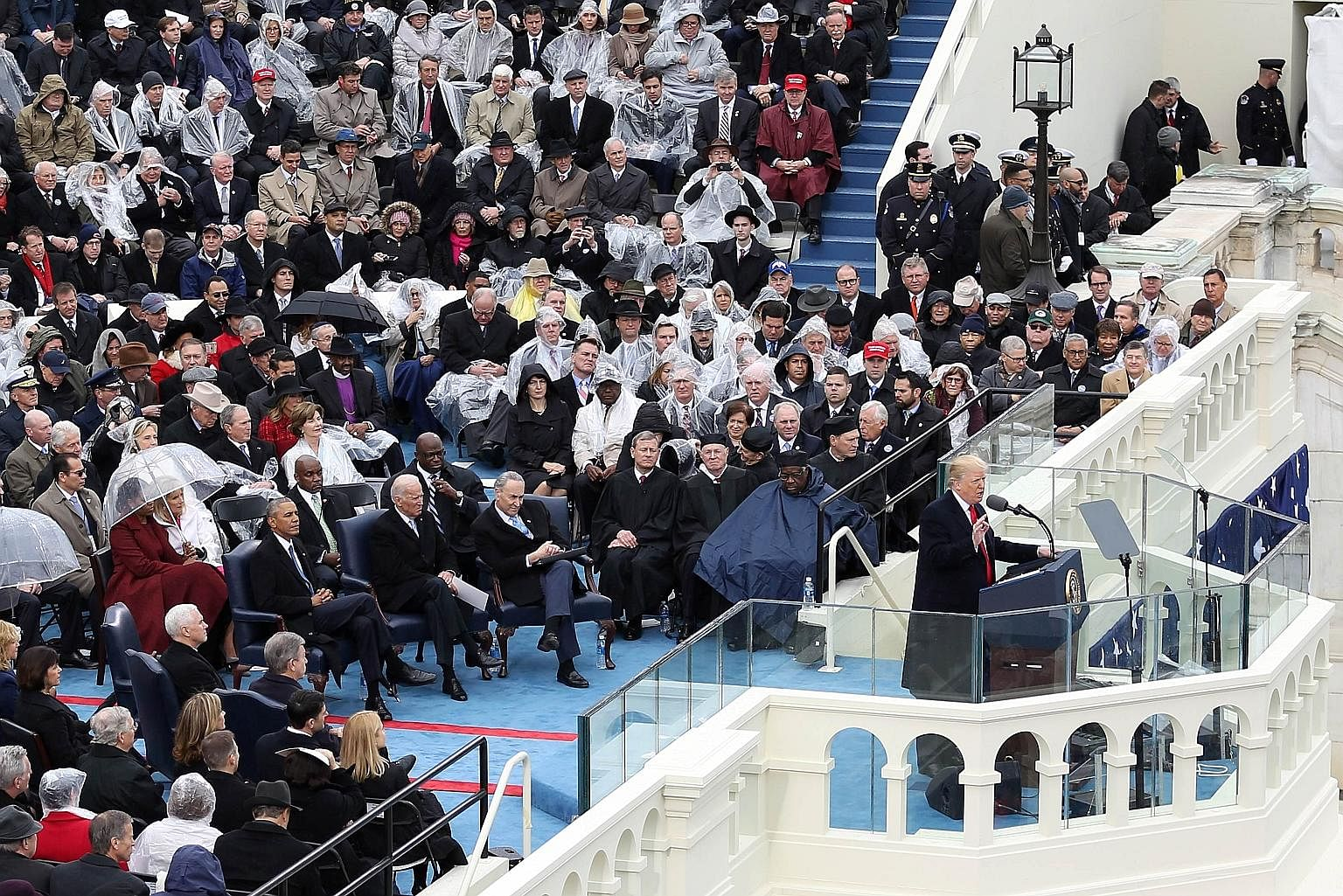 US President Donald Trump delivering his inaugural address in Washington on Jan 20 last year. The writer, an imam at the Islamic Institute of Orange County, says the past year has not always been easy, but during challenging times, he reminds his com