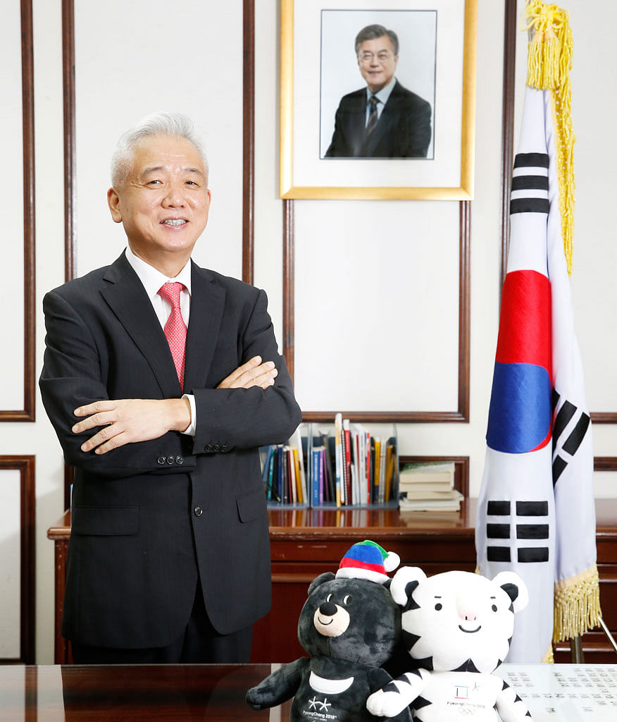 Mr Lee Sang Deok in his office at the Singapore embassy before he was suddenly recalled to South Korea on Monday. Mr Lee was director-general of North-east Asian affairs at South Korea's Foreign Ministry when he spearheaded the negotiations with Japa