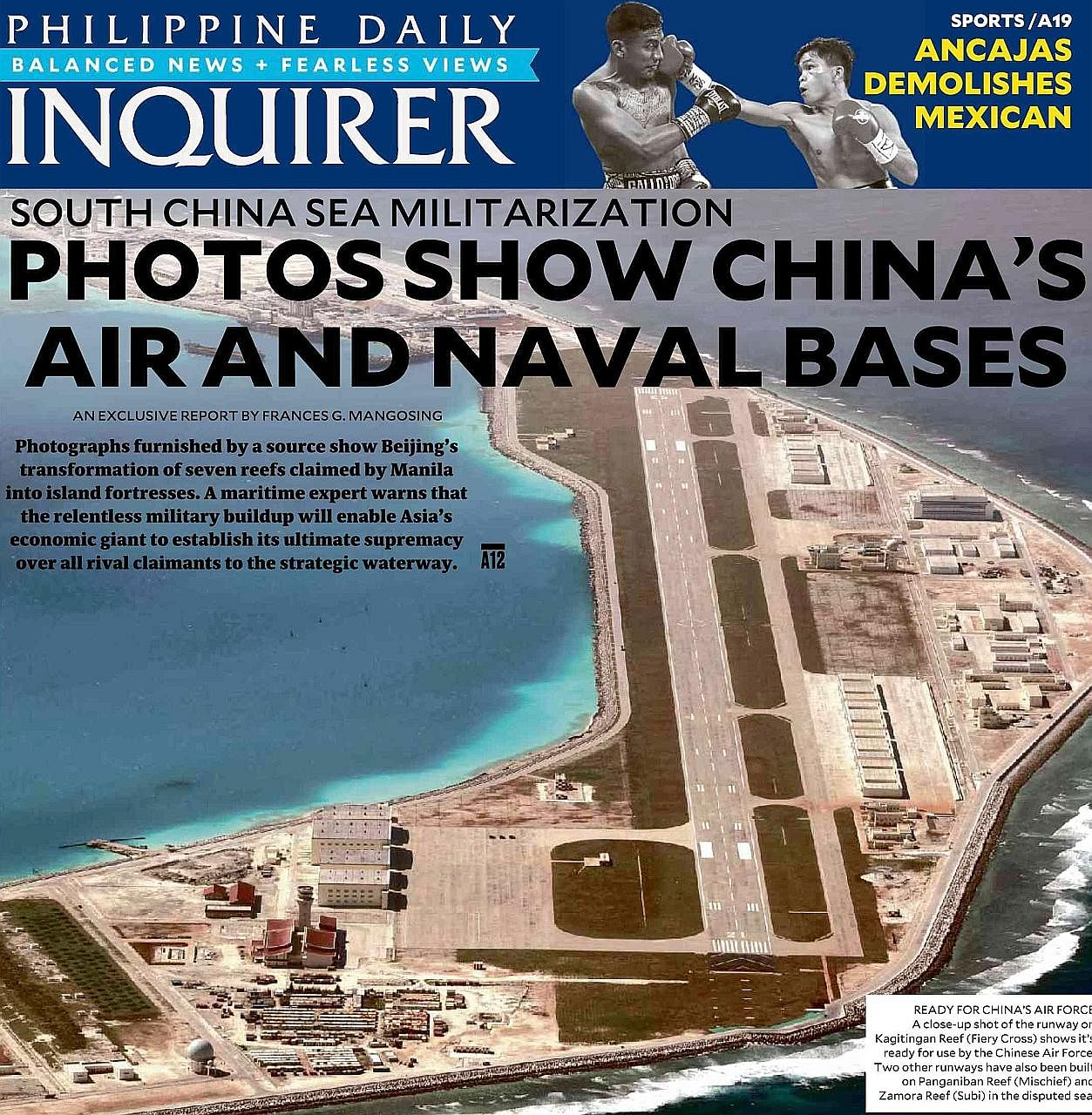 The Philippine Daily Inquirer report published yesterday shows the building of facilities on seven islands that China claims in the South China Sea as nearly done.