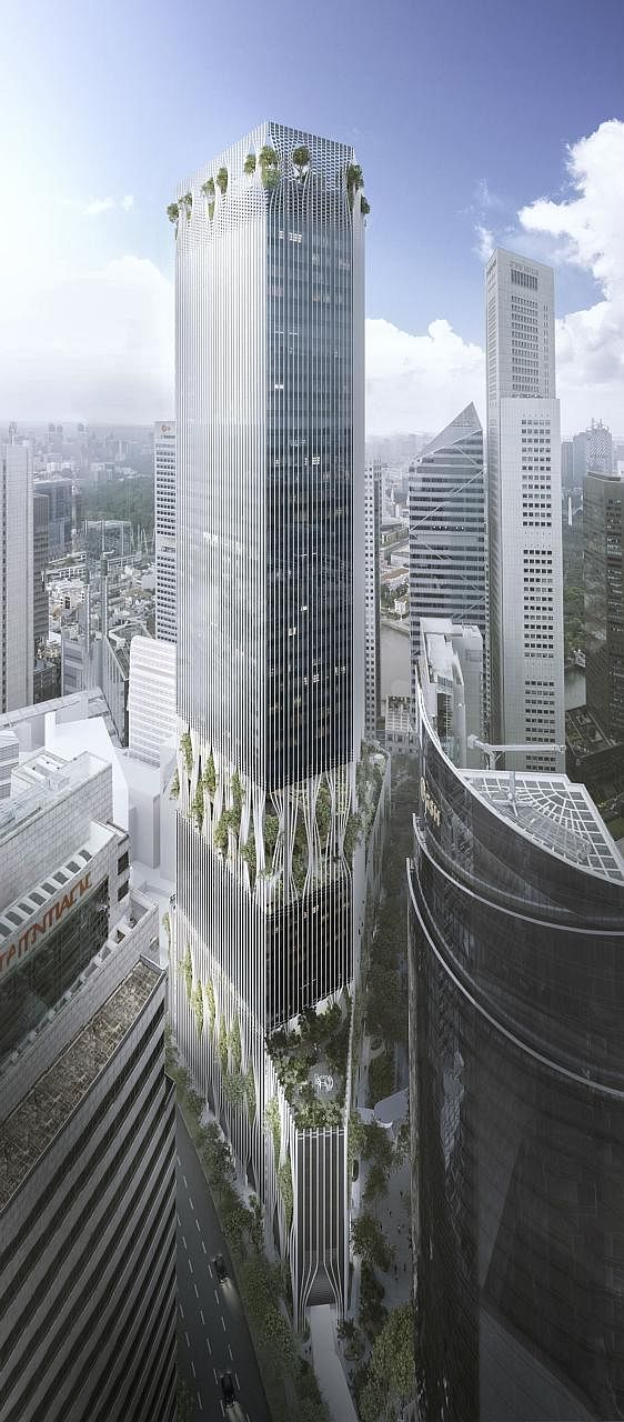 An artist's impression of the 51-storey tower. CapitaLand, CapitaLand Commercial Trust and Mitsubishi Estate are redeveloping the old carpark into a $1.82 billion integrated development.