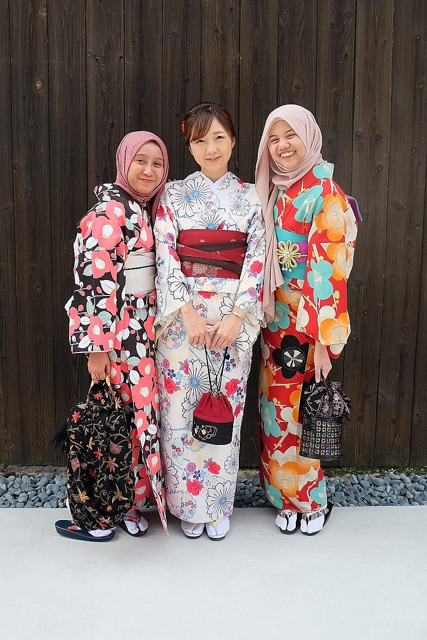 Halal Navi project manager Aida Nur Ariza (left) and her colleague, Ms Nur Aqalili Azizan (far left), in Kyoto, Japan. While Halal Navi's focus is still on Japan, users have also begun to provide tips on halal restaurants in other countries such as S