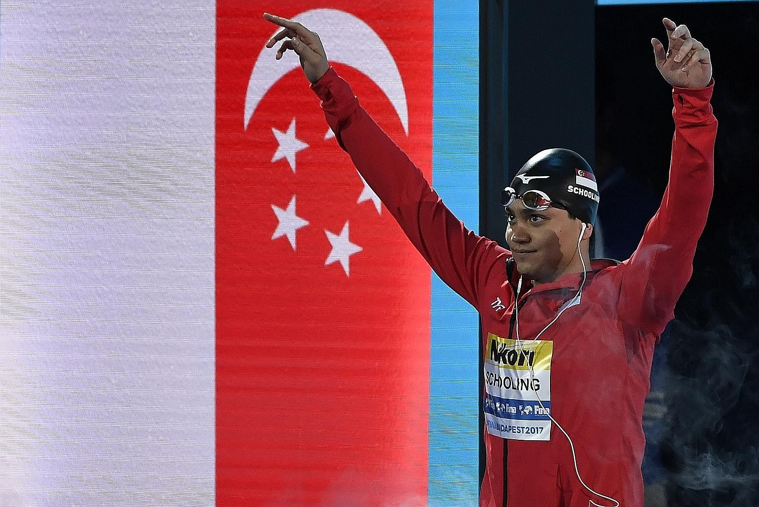 Joseph Schooling before the men's 100m butterfly final in Budapest, Hungary last year, when he clocked 50.83sec to finish joint-third with Briton James Guy, behind winner Caeleb Dressel.