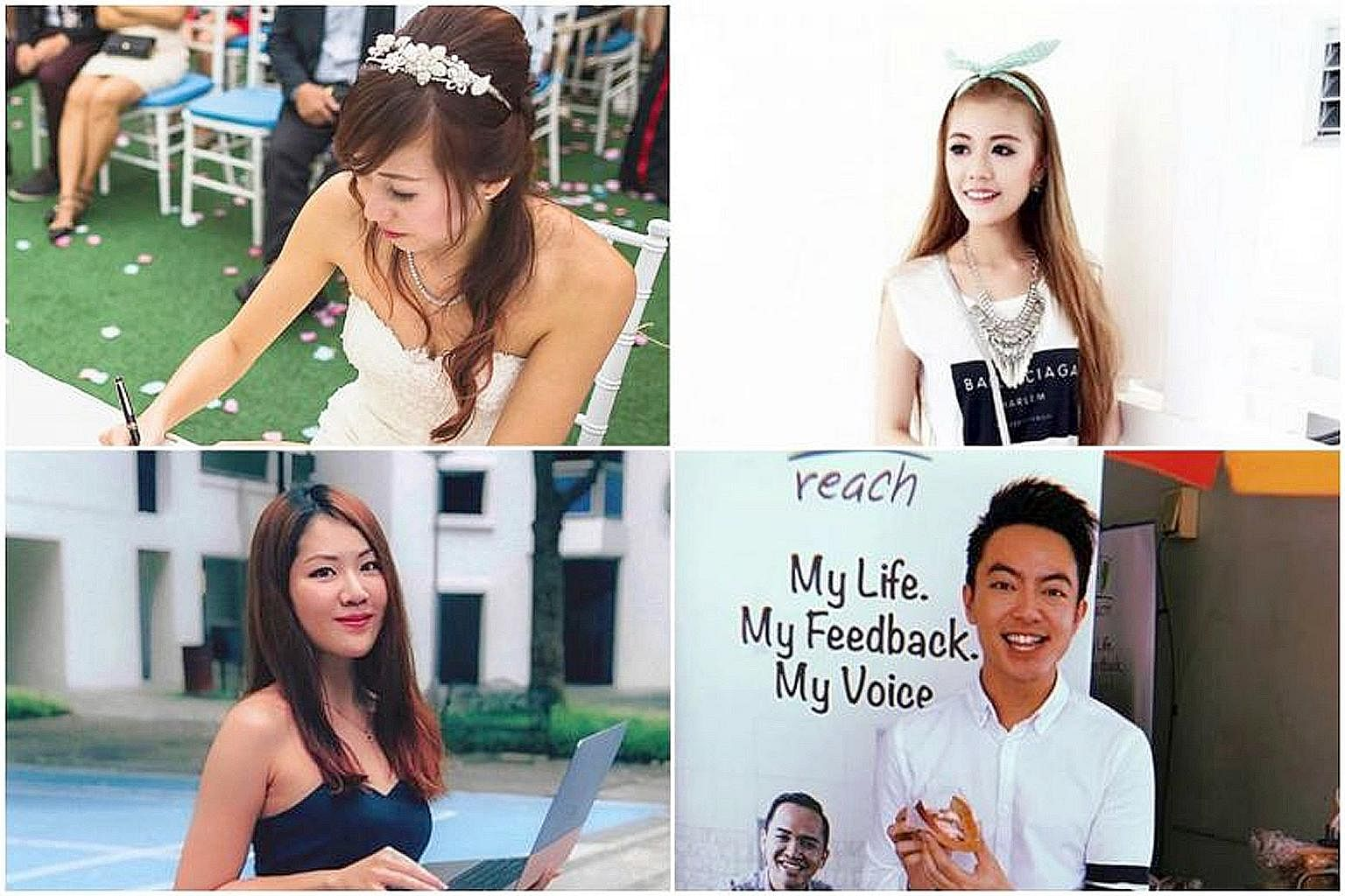 (Clockwise from top left) Social media influencers Cheng Kai Ting, Shanel Lim, Royce Lee and Chelsea Teng were among the more than 50 influencers hired by the Ministry of Finance to promote the Budget process.