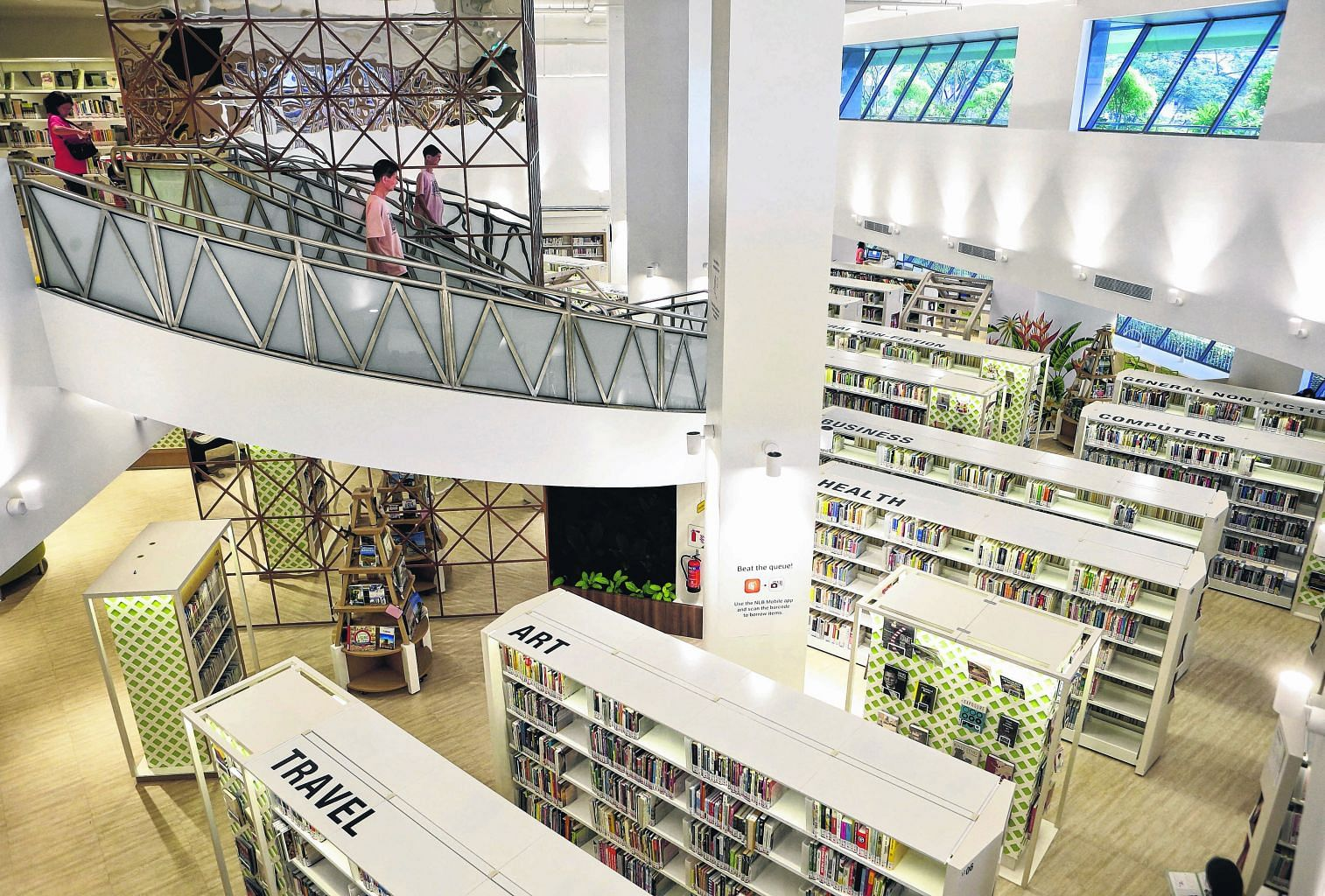 Bedok Public Library is at Heartbeat@ Bedok, an integrated community hub with facilities such as a sports centre, polyclinic and retailers.
