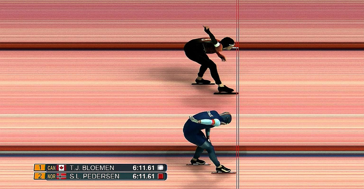 A screen grab of a television replay showing the blade of Canada's Ted-Jan Bloemen crossing the line two-thousandths of a second ahead of Norway's Sverre Lunde Pedersen.