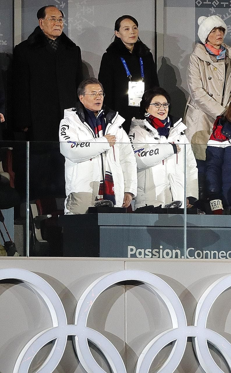 South Korean President Moon Jae In and his wife Kim Jung Sook (both in front), with North Korea's ceremonial head of state Kim Yong Nam and Ms Kim Yo Jong, at the Winter Olympics opening ceremony in Pyeongchang last Friday.