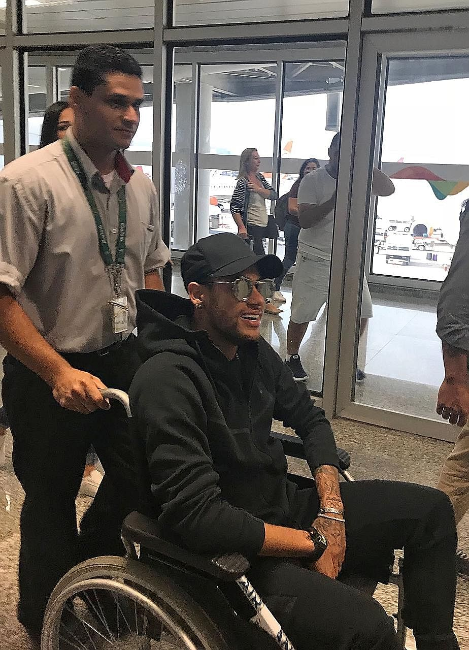 Brazilian superstar Neymar arriving in Rio de Janeiro from Paris ahead of an operation on his fractured metatarsal scheduled for tomorrow. The Selecao talisman was injured during a Paris Saint-Germain game and may miss the rest of his club's season.