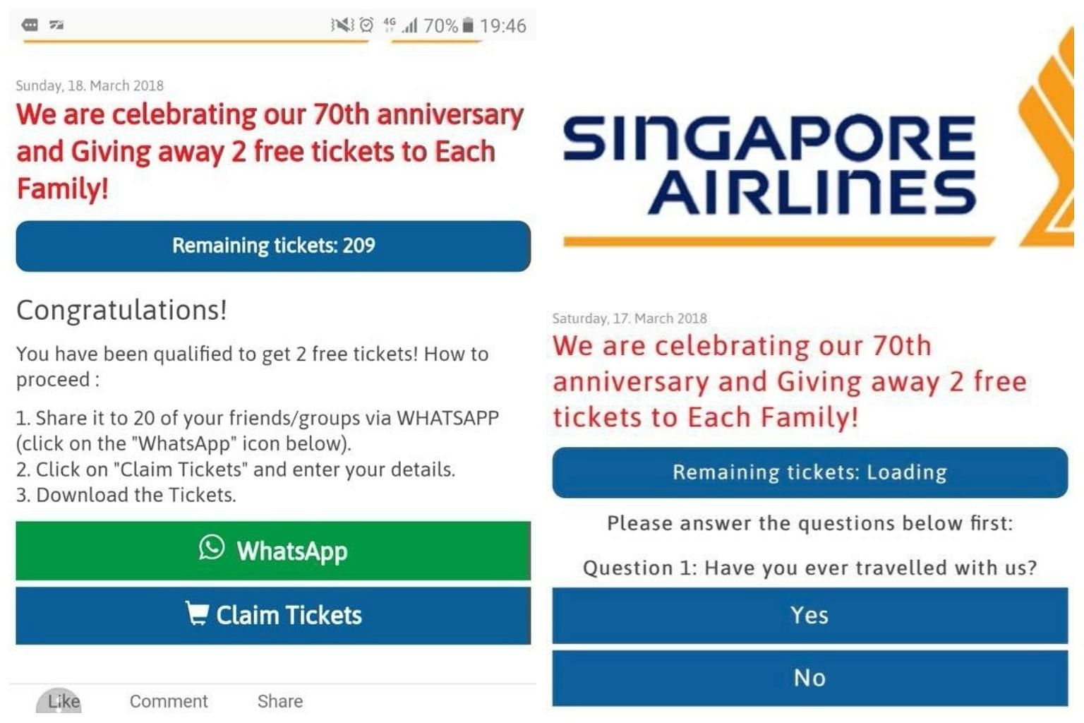 singapore airlines warns customers against scam that claims recipients have won air tickets singapore news top stories the straits times singapore airlines warns customers