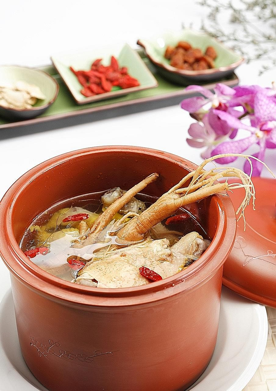 Chilli Padi Confinement's Ginseng Chicken. Companies such as RichFood Catering try to minimise repetition of dishes.