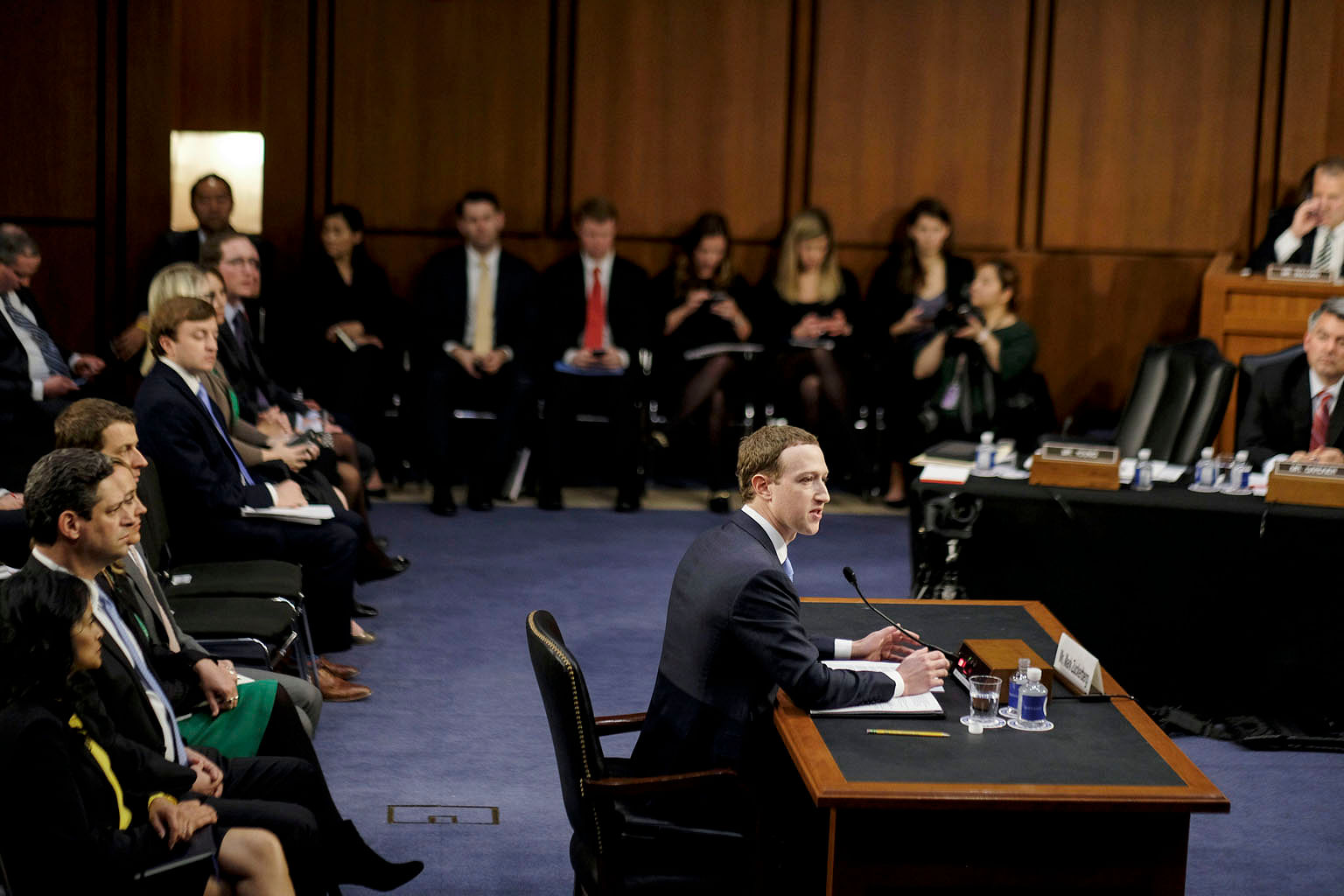 Facebook CEO Mark Zuckerberg at a Senate hearing in Washington this week. Privacy advocates want US lawmakers and regulators to have a pointed discussion about the stockpiling of personal data at the core of the giant social media company's business.