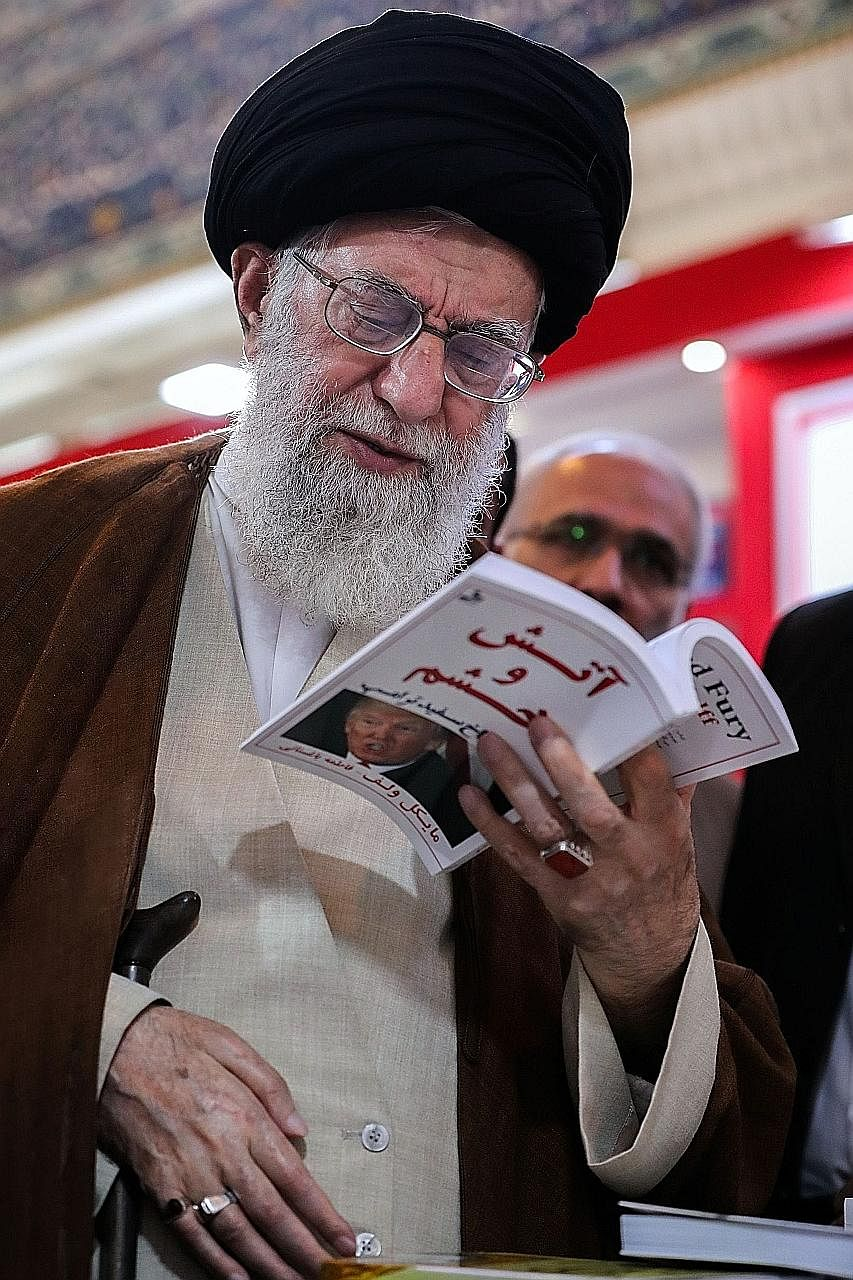 A photo on the official Instagram site of Ayatollah Ali Khamenei showed him reading a Farsi translation of Michael Wolff's book on the Trump White House, The Fire And The Fury.