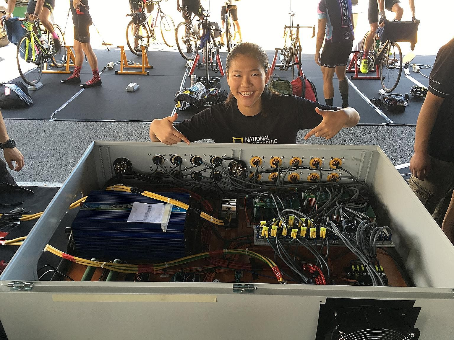 Ms Kwok built 27 electricity-generating bicycles for Cable Networks, National Geographic Channel and World Wide Fund for Nature for their Earth Day Event in Singapore in 2016.