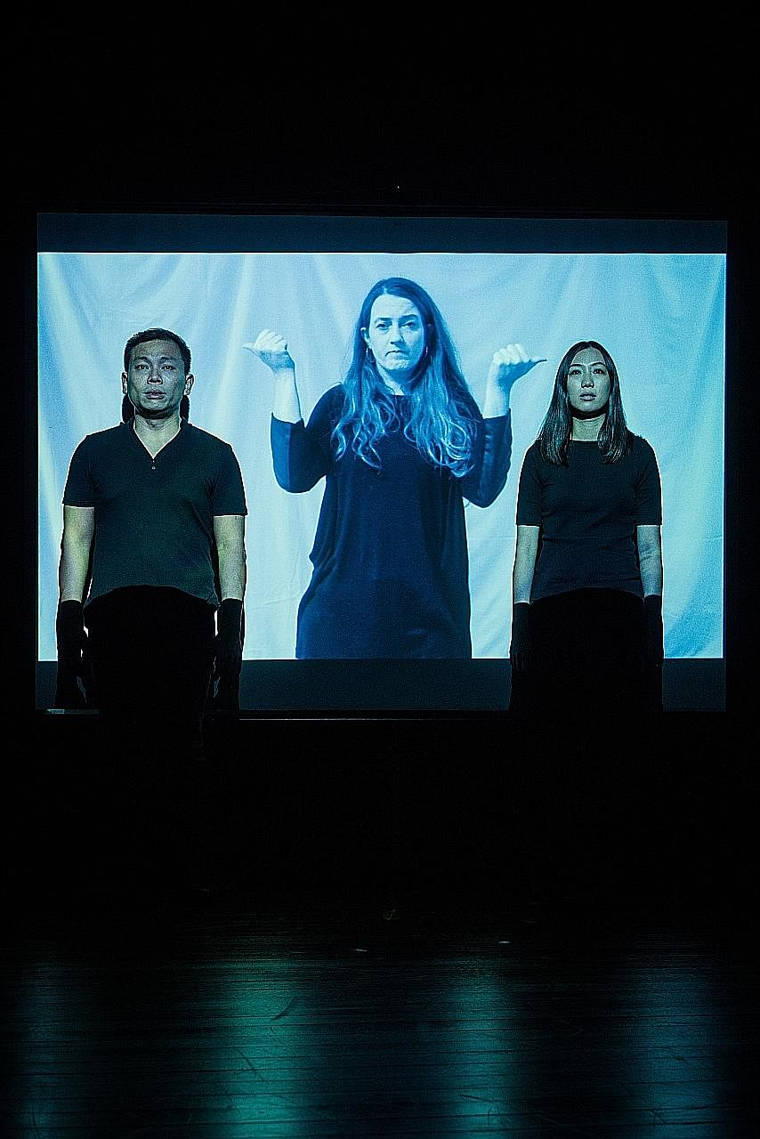 (From far left) Peter Sau, Sophie Stone and Grace Khoo are in the show led by artists who are deaf or disabled.