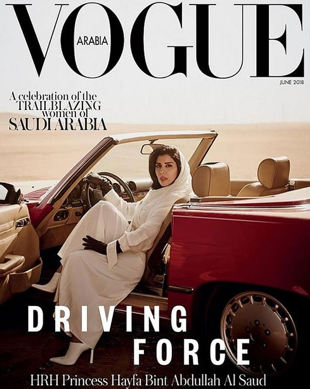 Saudi Princess Hayfa bint Abdullah al-Saud was pictured behind the wheel of a red convertible on Vogue Arabia's cover.
