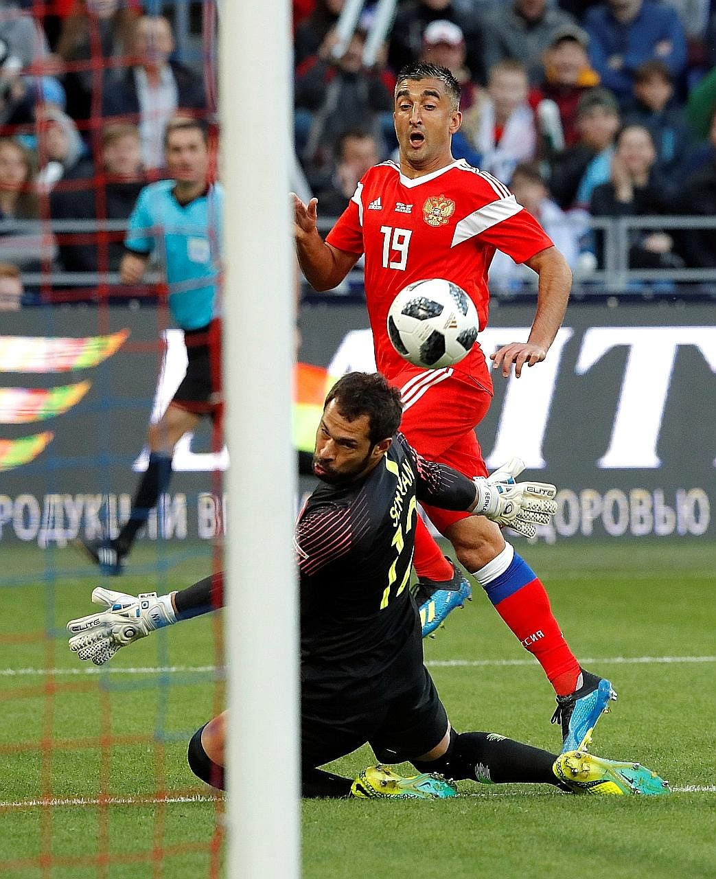 Aleksander Samedov scoring past Turkey goalkeeper Serkan Kirintili at Moscow's VEB Arena to open accounts for Russia on Tuesday. But the visitors equalised to stretch the World Cup hosts' winless spell to seven games.