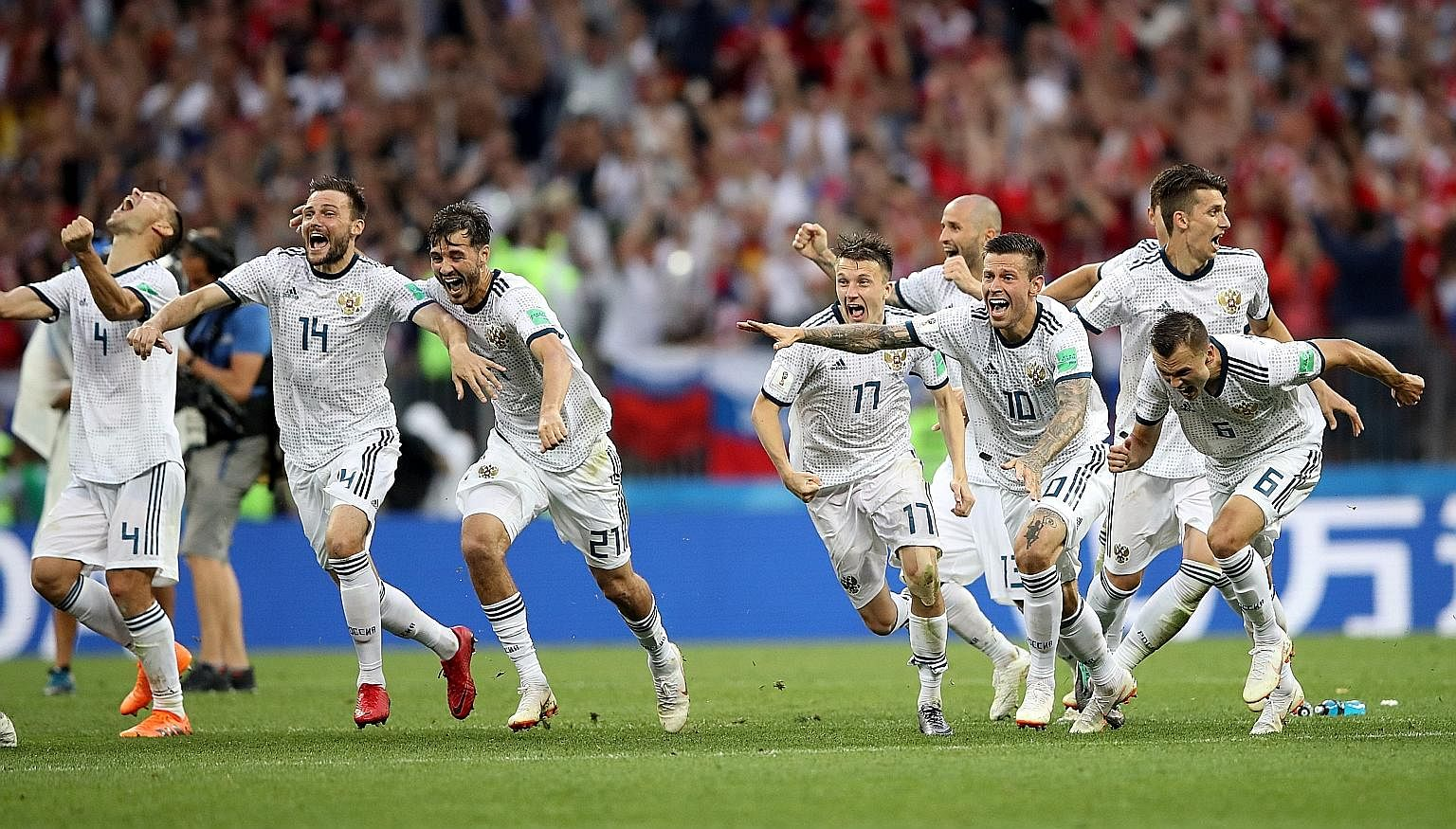 Russia celebrated one of their most famous wins at the World Cup in Moscow yesterday when they defeated 2010 champions Spain 4-3 in a penalty shoot-out to reach the quarter-finals. The last-16 match had ended 1-1 on full-time. Goalkeeper Igor Akinfee