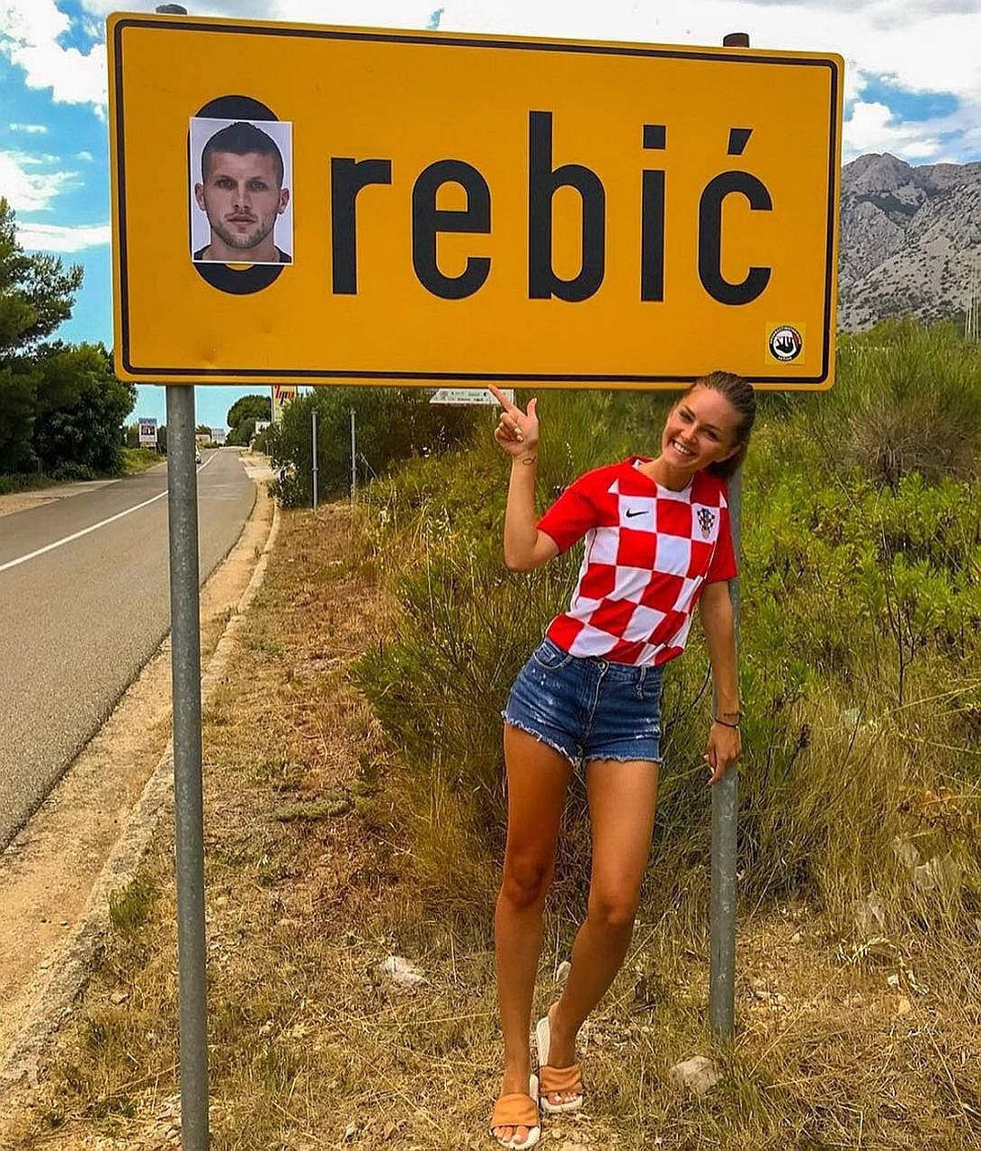 HOT SHOT #1 A fan pointing out that the Croatian town of Orebic has been renamed (Ante) Rebic after the Croatia winger. He is expected to line up against England today in their semi-final as Croatia aim to go one better than the Class of '98. CAUGHT