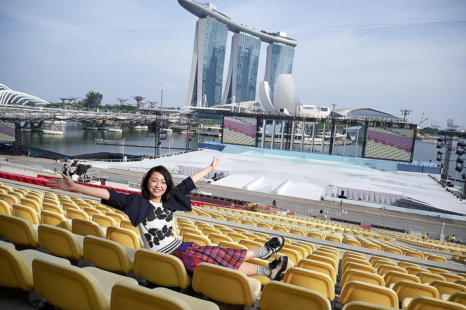 Jazz singer Joanna Dong at the Marina Bay Floating Platform. She says it matters to her that she performs well in front of Singaporeans on the country's biggest platform.