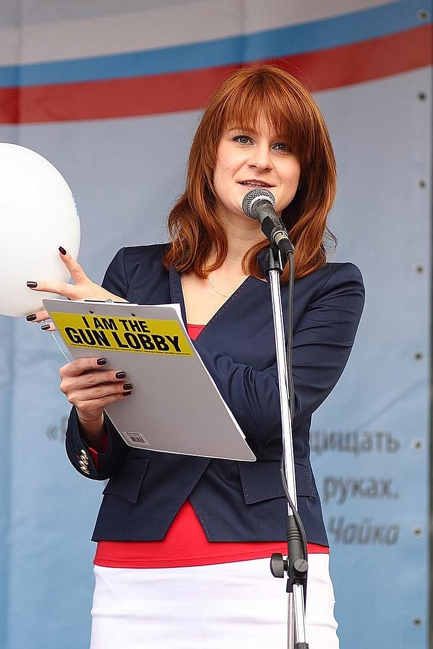 An undated photo of Maria Butina at a rally in Russia. The 29-year-old Russian has been arrested in the US on suspicion of being an unregistered Russian agent.