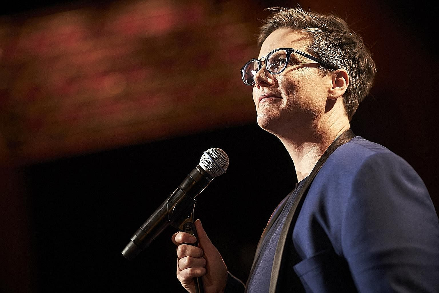 Gay comedienne Hannah Gadsby (above) does a blistering takedown of patriarchal power and shows raw emotion in her Netflix special Nanette, while Sacha Baron Cohen (left) reveals divisions in modern America as three characters in Who Is America?.