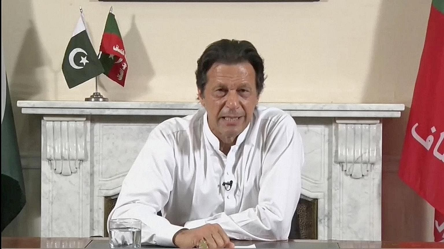 Cricket star turned politician Imran Khan yesterday claimed victory as his opposition party, Pakistan Tehreek-e-Insaf (PTI) or Movement for Justice, looked set to win Pakistan's general election. Unofficial results showed it had gained a strong lead