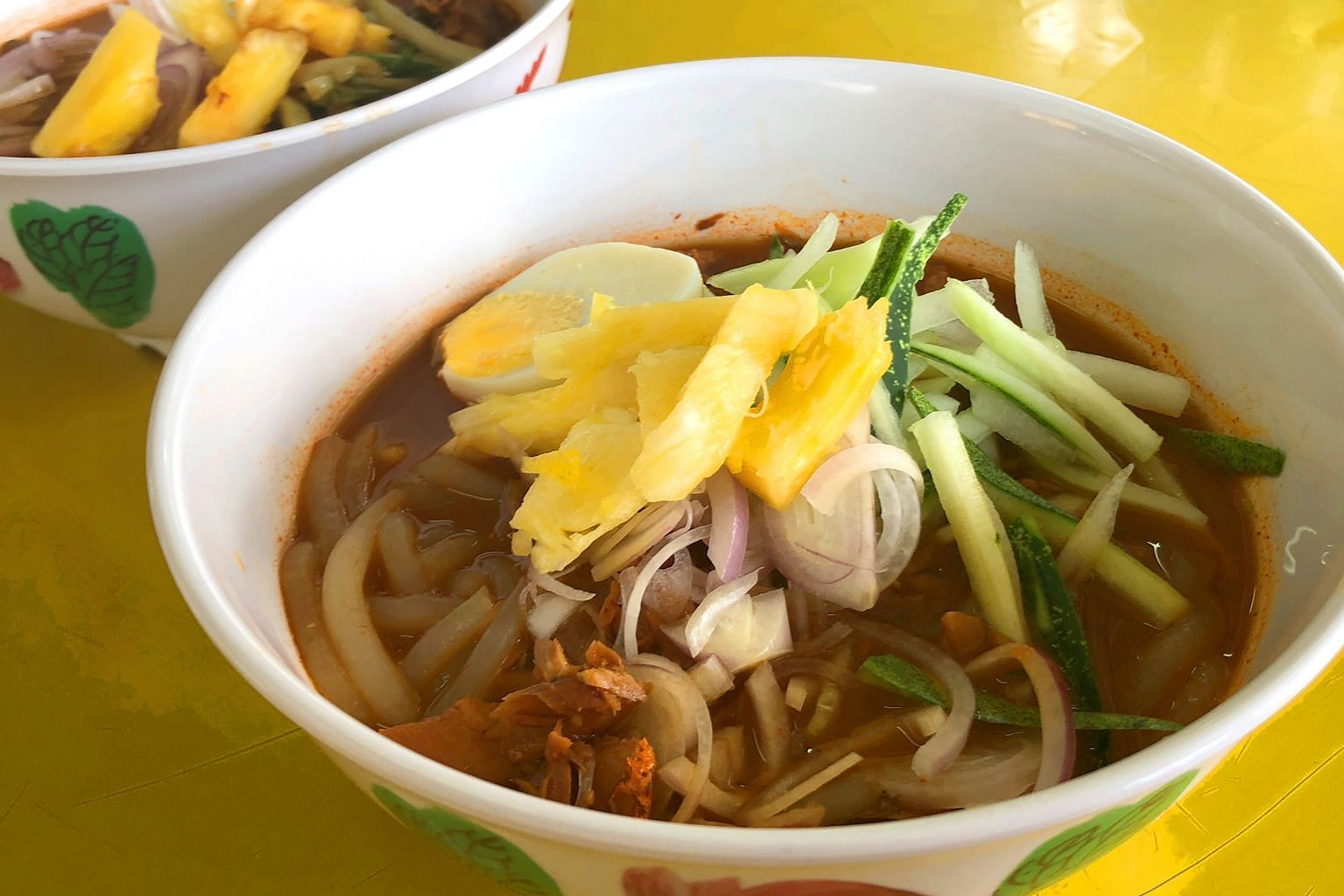This stall sells the Taiping, and not the Penang, version of assam laksa, which does not require prawn paste.