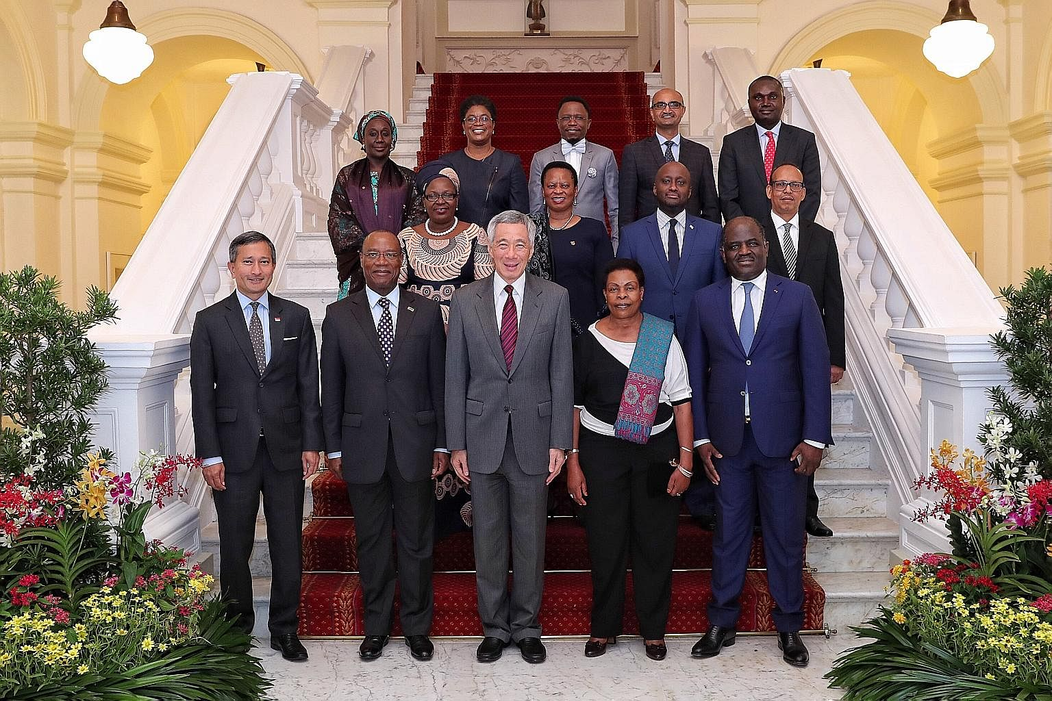 Twelve ministers from African countries with Prime Minister Lee Hsien Loong and Foreign Minister Vivian Balakrishnan at the Istana as part of a two-day visit that began on Monday. Mr Lee and the ministers representing Djibouti, Ethiopia, Gabon, Ghana