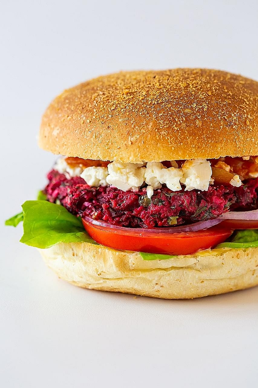 The best-selling burgers at plant-based burger joint VeganBurg are its Creamy Shrooms (left) and Smoky BBQ with added vegan bacon. Mo & Jo Sourdough Burgers' Goddess burger has a beetroot and quinoa patty. The Quad Fatburger has four beef patties. Wh