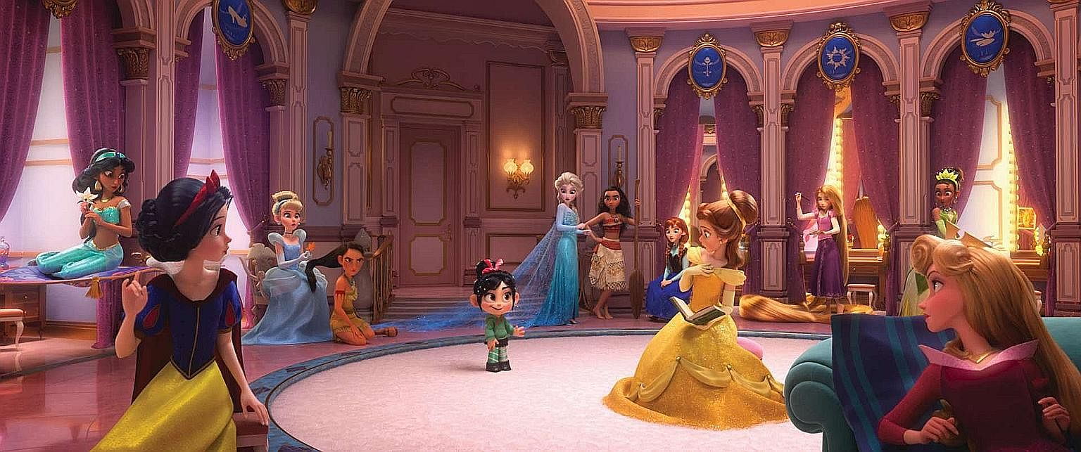 In Ralph Breaks The Internet, Vanellope (centre) meets all of Disney's princesses - from Snow White to Cinderella to Tiana (second from right).