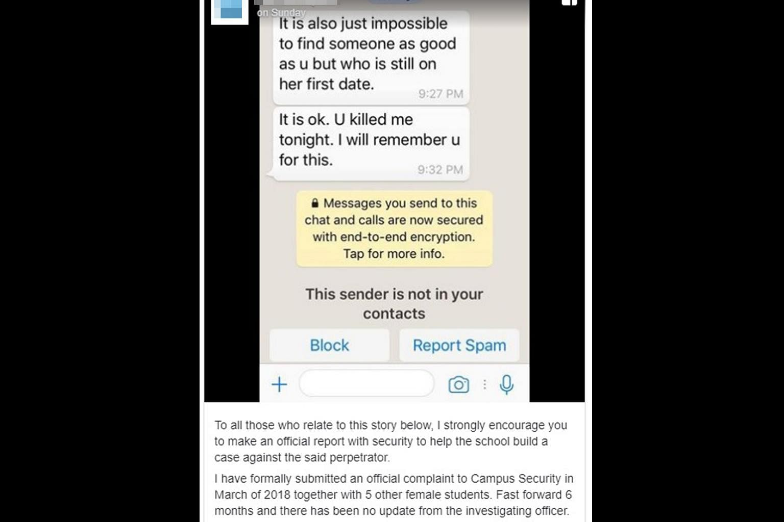 NUS counsels student after harassment complaint made against
