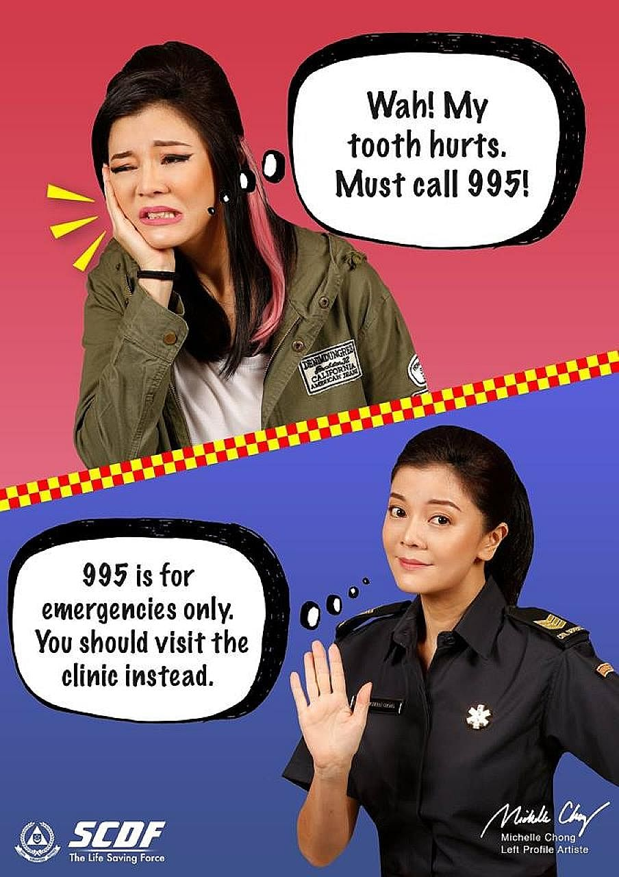 Playing the role of Ah Lian who calls in about a toothache and also the officer who takes the call, actress Michelle Chong helps spread the word that 995 calls should not be misused for non-urgent situations.