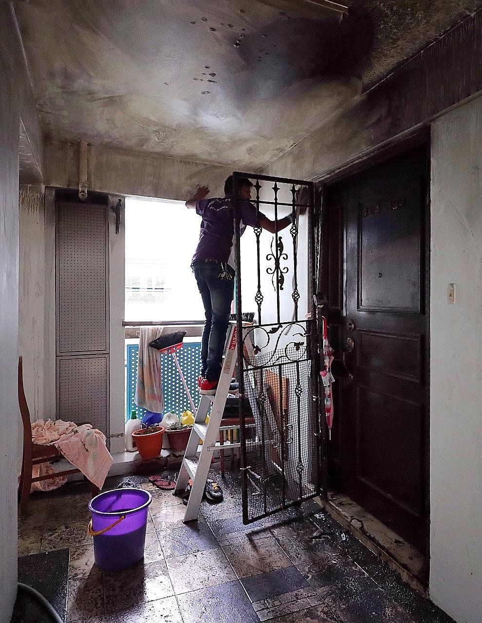 Madam Maimon Sharif, who died in the blaze, was believed to be making lunch for her gr