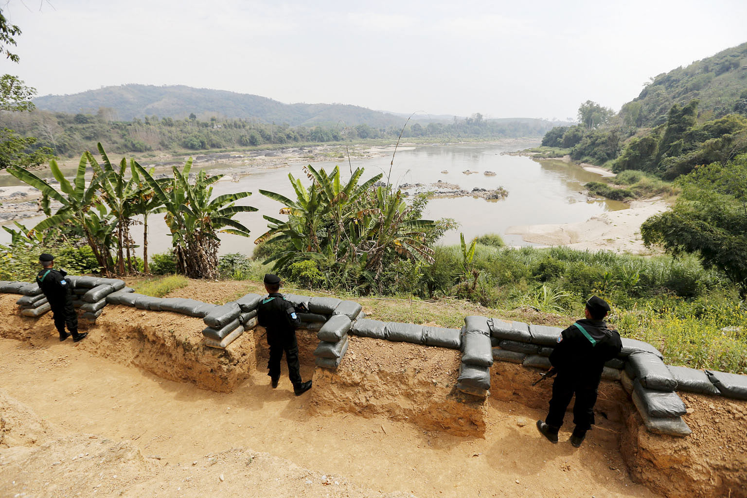 Thai soldiers at the Ban Kaen Kai operation base along the Mekong River at the border between Thailand and Laos. The 4,909km river runs through China, Myanmar, Laos, Thailand, Cambodia and Vietnam. But the writer notes that only its lower portion is