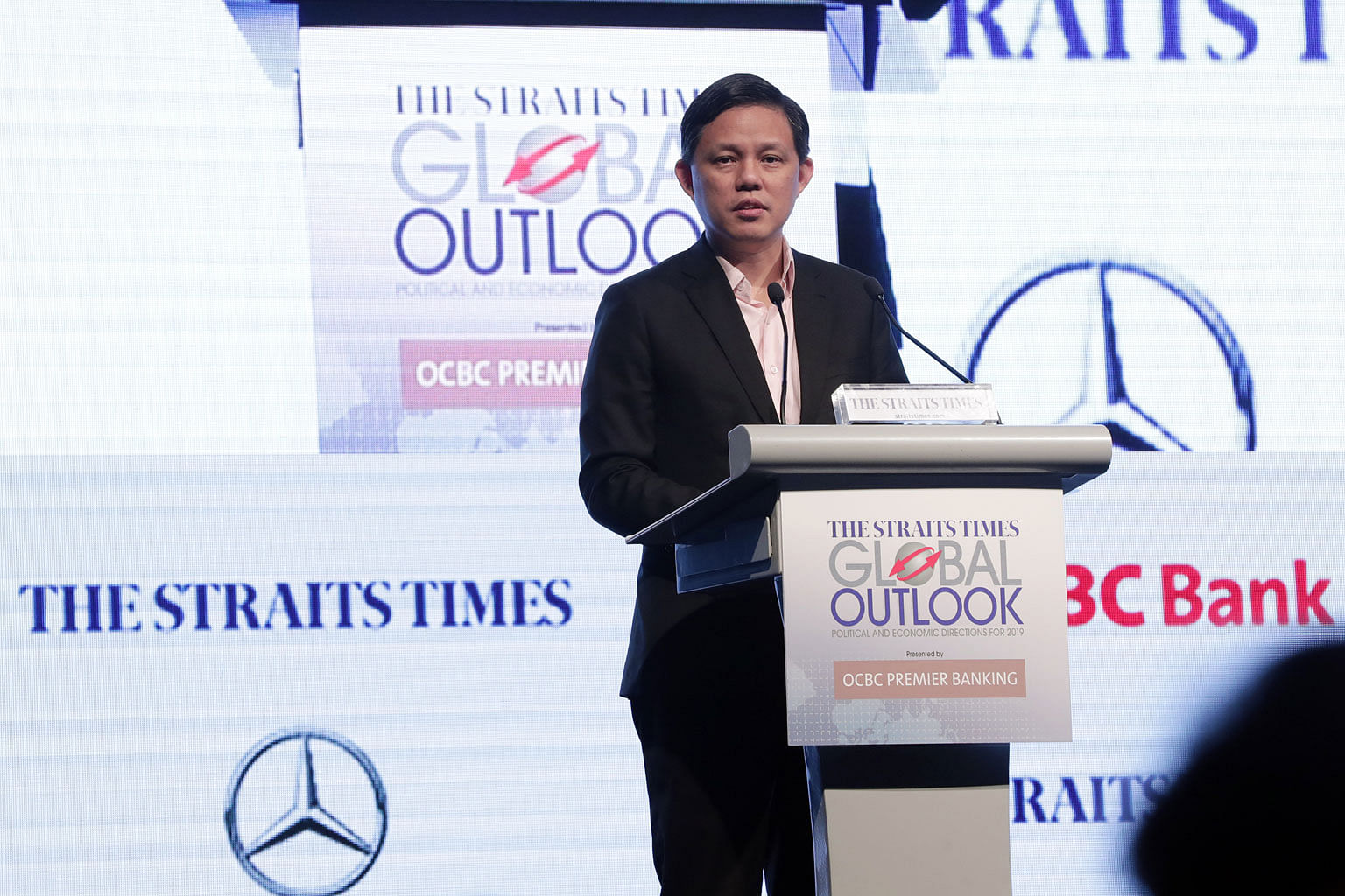 Trade and Industry Minister Chan Chun Sing giving the keynote address at The Straits Times Global Outlook Forum held at Raffles City Convention Centre yesterday. He says globalisation will bring forth its fair share of challenges and opportunities, a