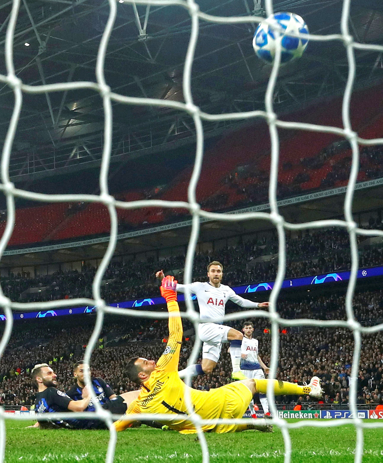 Tottenham's Christian Eriksen came off the bench to score the winner against Inter Milan and keep the English side's hopes of progressing to the knockout stages of the Champions League alive. Spurs face Barcelona in their final group game knowing any