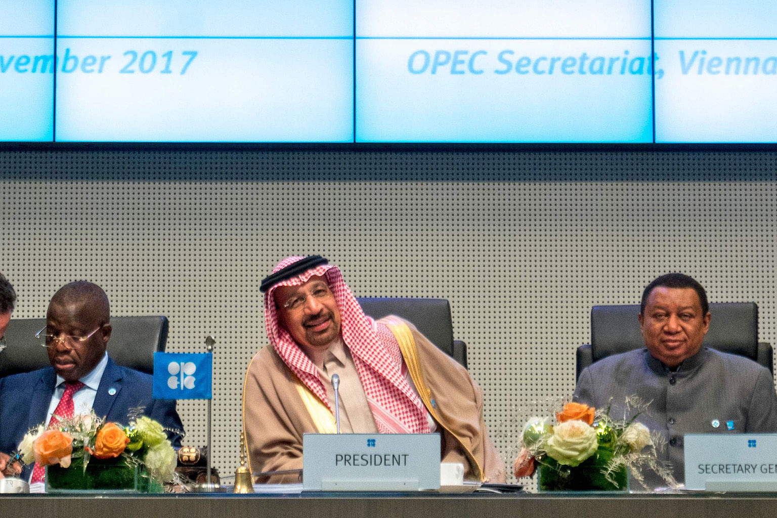 (From left) Angola's governor for Opec Estevao Pedro, Saudi Arabia's Energy Minister Khalid Al-Falih and Opec secretary-general Mohammed Barkindo at last year's Opec conference. Ministers from Opec will meet in Vienna today and tomorrow to decide how
