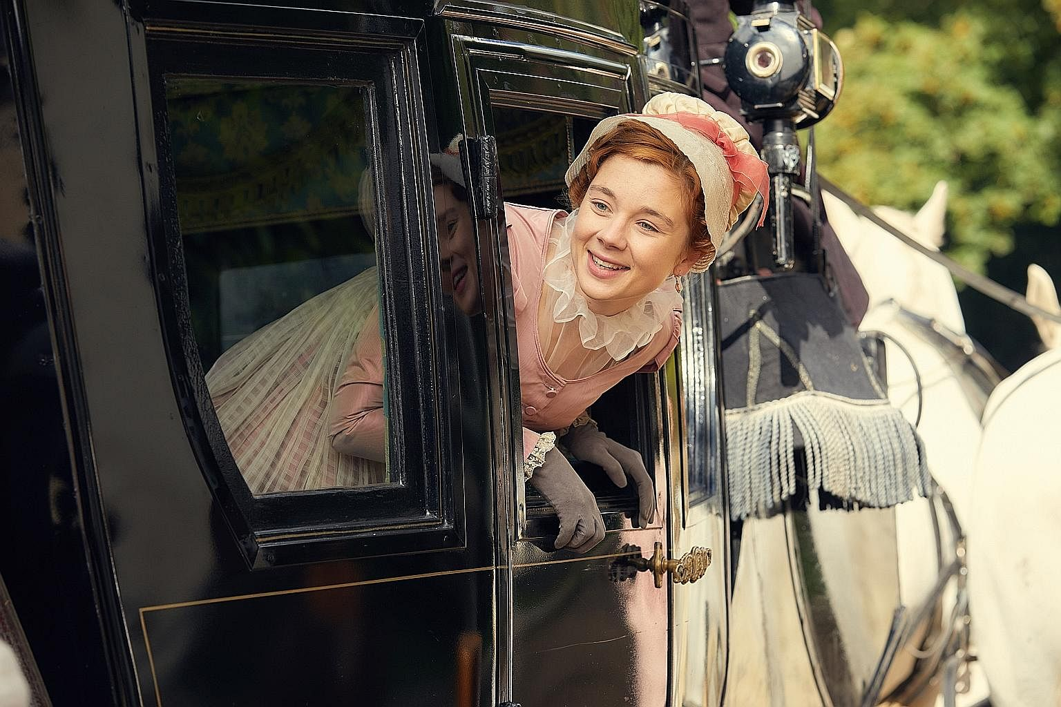 Olivia Clarke (right) stars as Becky Sharp in Vanity Fair, and Ben Wishaw and Hugh Grant (both above) play a pair of lovers in A Very English Scandal.