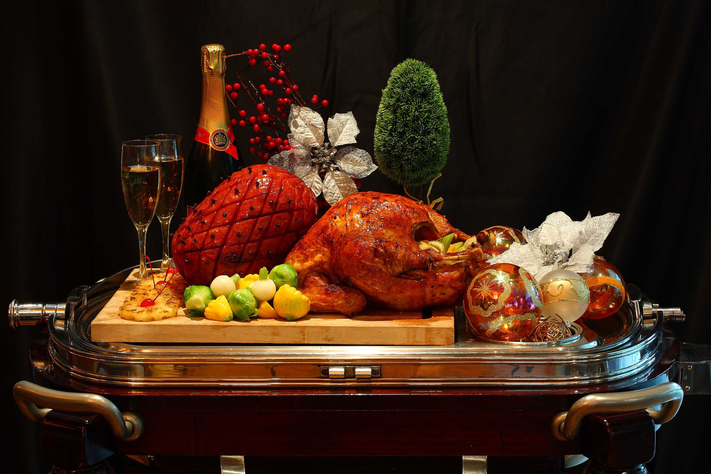 The M Hotel Singapore is offering the traditional roast turkey and apricot honey-mustard glazed turkey at $128 each.