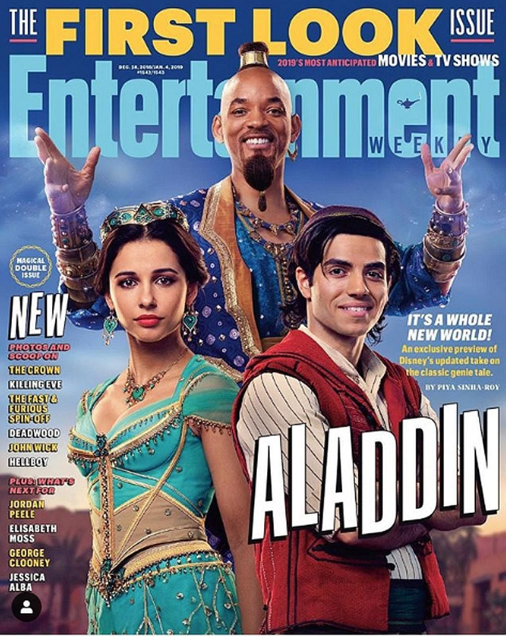 The Entertainment Weekly cover features American actor Will Smith as the Genie, British actress Naomi Scott as Princess Jasmine and Canadian actor Mena Massoud as Aladdin.